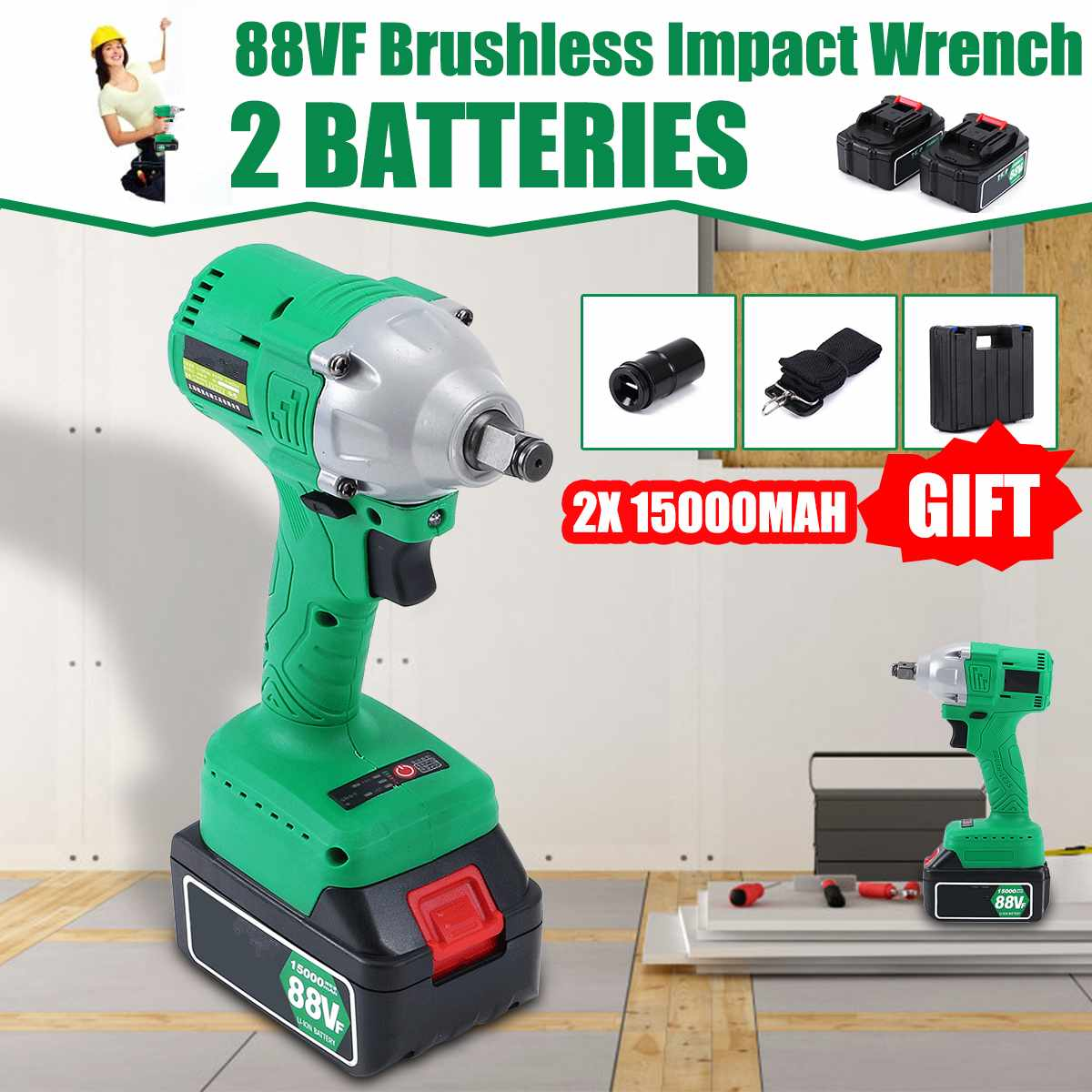88VF Brushless Electric Impact Wrench High Torque Rechargable 15000mAh Li ion 2 Batteries Cordless Impact Wrench with LED lights|Electric Wrenches| |  - title=