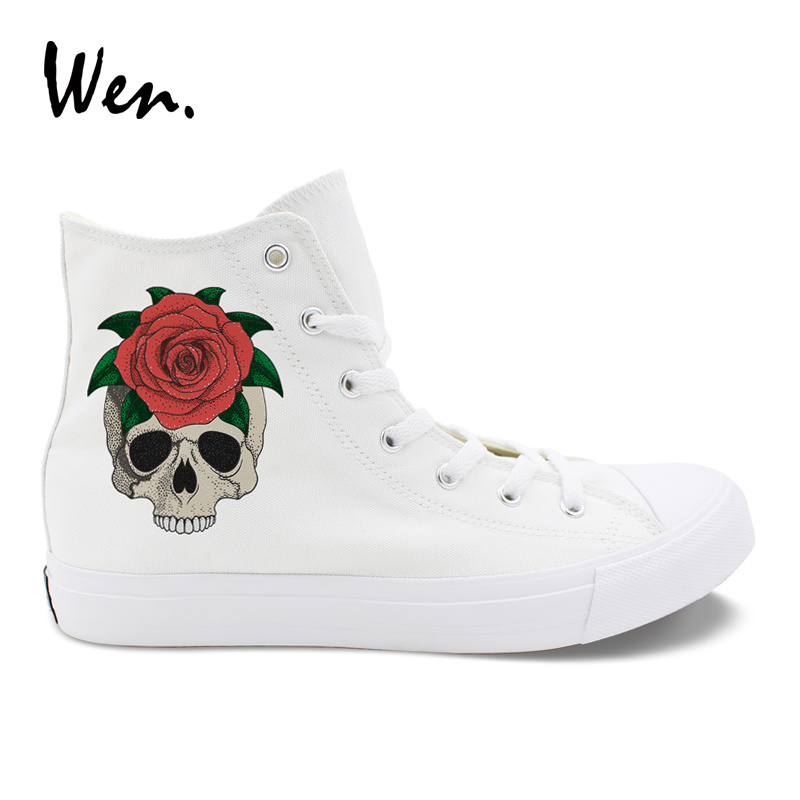 Wen Design Red Rose Skull Flower Men Canvas Casual Shoes High Top White Black Drawstring for Women Flat Soled Sneakers Big Size casual drawstring waistband design black shorts for men