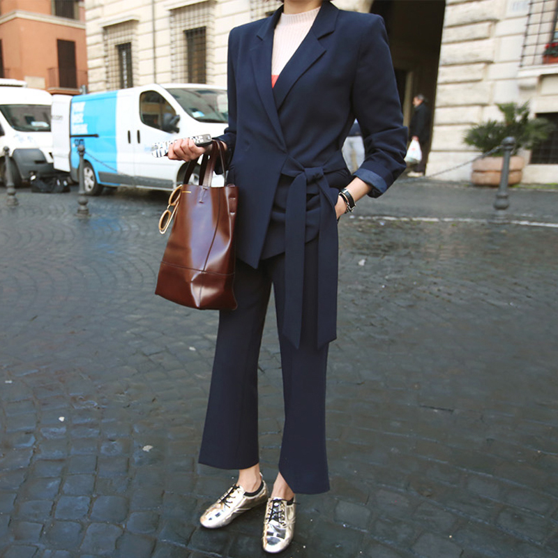 Side Bandage Notched Collar and Wide Leg Pant Suits 2 Pieces Office Ladies Set Women Jacket and Trouser Workwear with Sashes ...