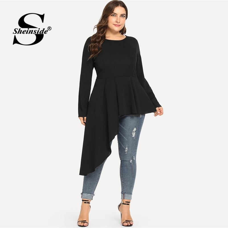 Sheinside Hollow Out High Low Casual Top Women Navy Asymmetrical Plain Long Sleeve Loose Office Ladies Elegant Autumn Blouse Women's Clothing
