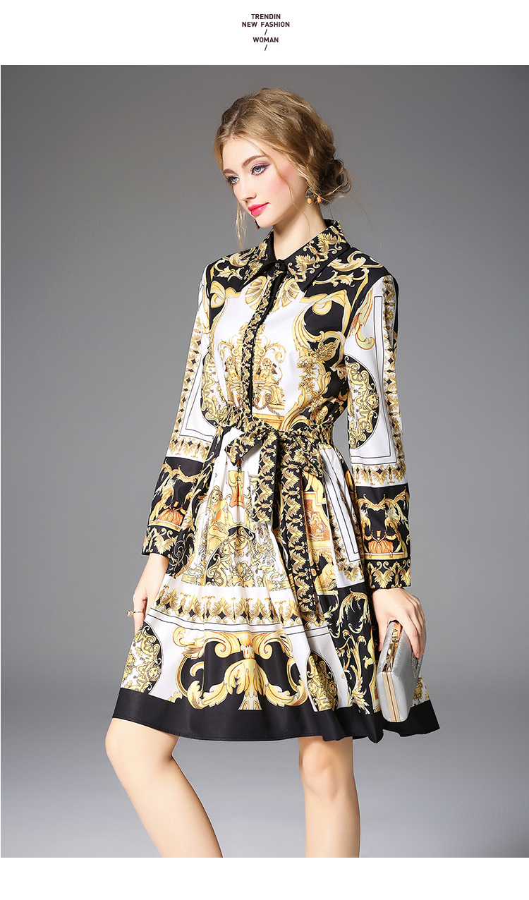 Long Sleeve Bow Collar Baroque Printing Yellow Dress 3