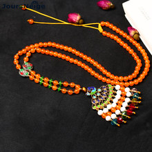 Wholesale Natural Orange Stone Necklace Roasted Blue Peacock Pendant Lucky for Women Sweater Chain Necklace Original Jewelry(China)