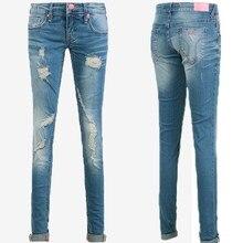 Бренд Тощие женщины брюки Высокой Талии Карандаш джинсы мода отверстие синий разорвал джинсы