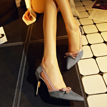 New Brand Bowtie Thin High Heels Women Pumps Pointed Toe Sexy Ladies Stiletto Shoes Woman Gray Black Plus Size 35-43 ZX2.5