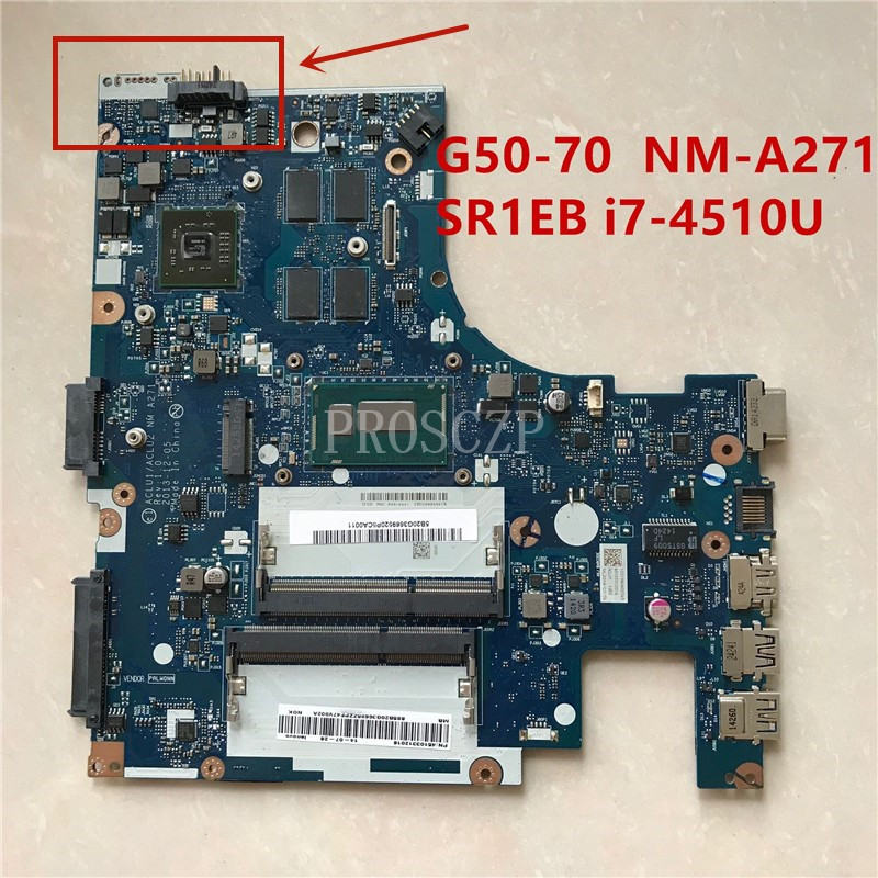 Free shipping For G50-70M G50-70 Z50-70 Laptop Motherboard With SR1EB I7-4510U CPU ACLU1/ACLU2 NM-A271 2GB 100% fully tested
