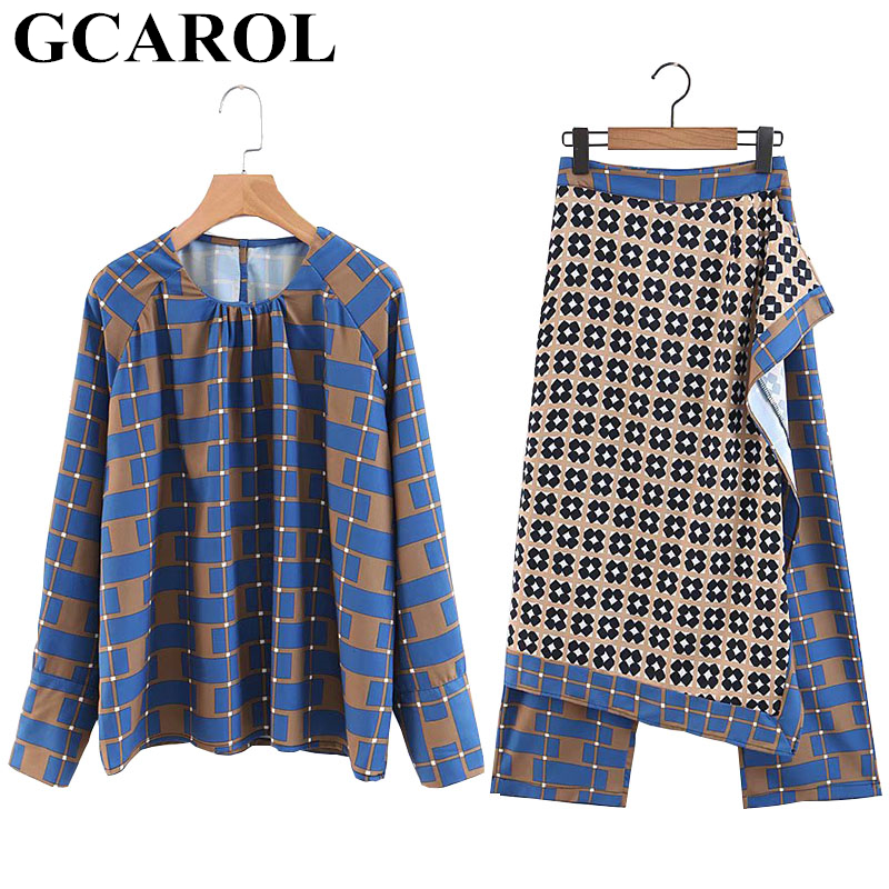 GCAROL 2019 New Women'sets 2 Pieces Geometric Check Blouse And Wrap Scarf Pants Skirt Vintage Two Pieces Outfits