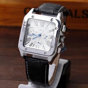 Image 1 - Mens Fashion Automatische Mechanische Selbst Wicklung Kalender Display Römischen Zahlen Zifferblatt Analog Schwarz Lederband Armbanduhr Geschenke