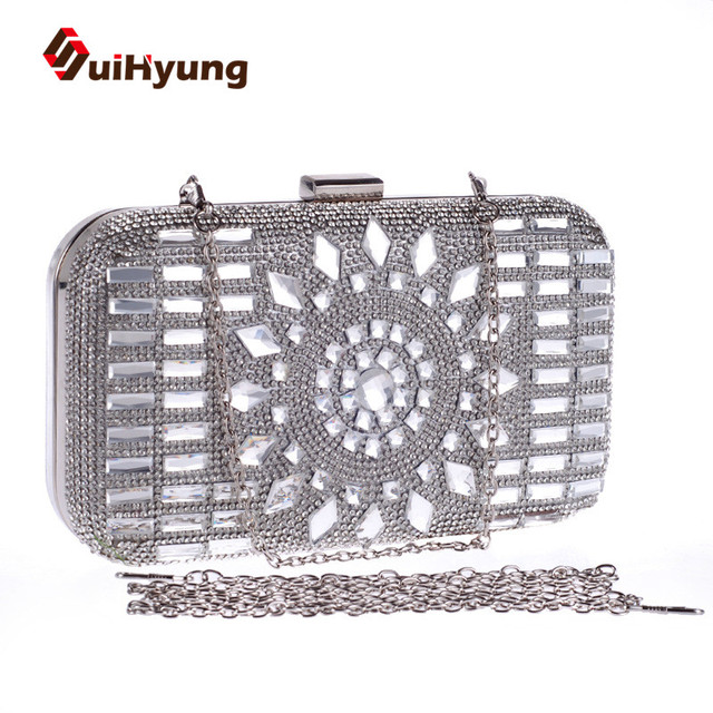 New Women's Handbags Colored Rhinestones Party Evening Bags Ladies Wedding Diamond Clutch Small Purse Female Shoulder Hand Bag