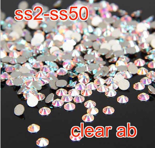 Top quality Super bright crystal AB ss2-ss50 non hot fix flatback rhinestone  Nail Art 1d306fdf77d1