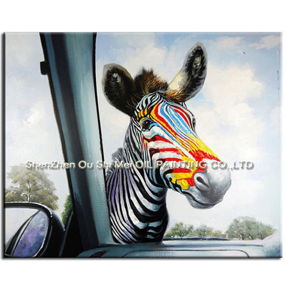 Domácí výzdoba Vtipná zvířata Nástěnné umění Ruční olejomalba na plátně Zebra před obrazem Krajina Krajina pro obývací pokoj