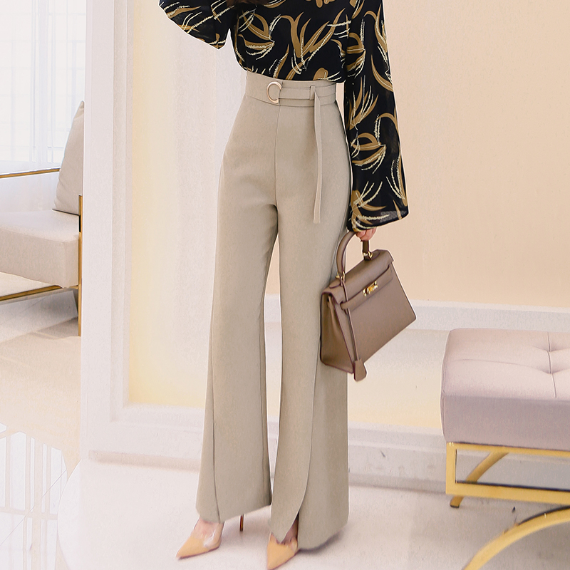 High Waist Flare   Pants   Plus Size Women Trousers Female Office Lady Casual   Wide     Leg     Pants   OL Casual   Pants     Wide     leg     pants