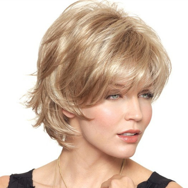 Fashion European And American Women  Full Lace Wigs Short Wavy Curly Blonde Synthetic Hair Perruque Hair piece For Party