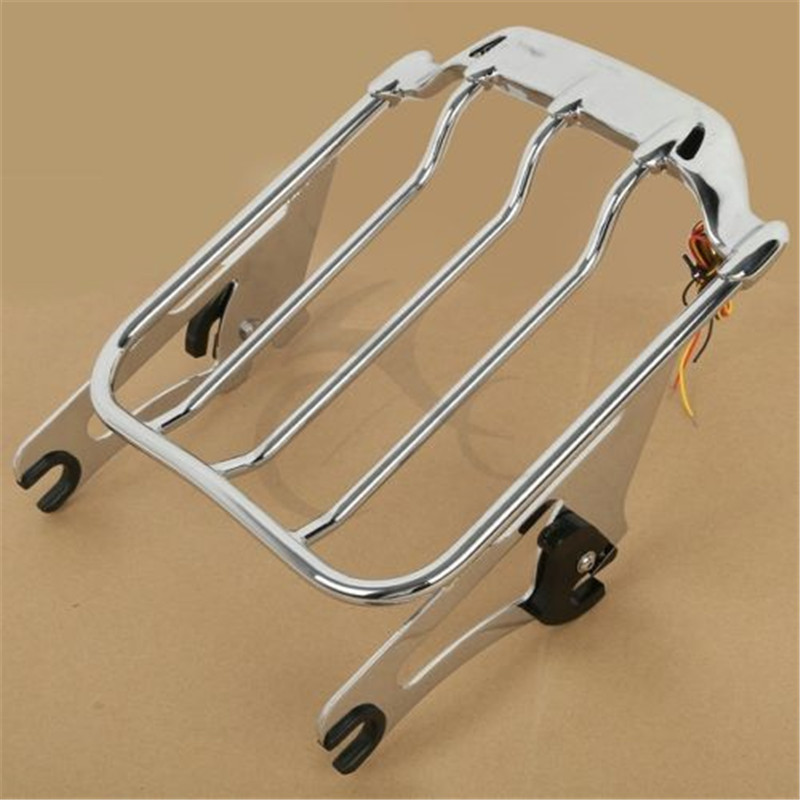 Motorcycle Air Wing Luggage Rack w LED Light for Harley Road King Glide FLHR FLTR Electra