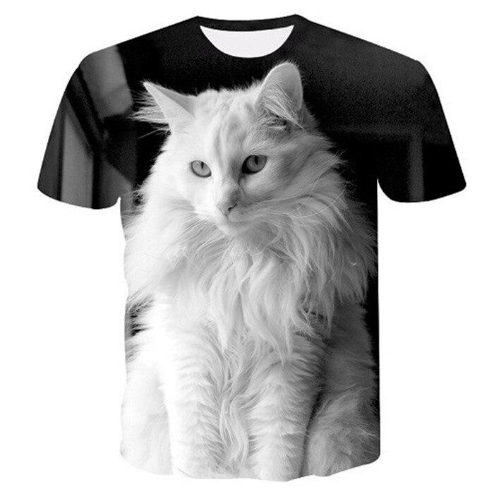 Новинка, футболка для мужчин/женщин, 3d принт, мяу, черный, белый, кот, хип-хоп, Мультяшные футболки, летние топы, футболки, модные 3d футболки, M-5XL - Цвет: txu-159