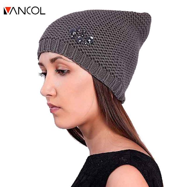 2015 Autumn New Arrival Feminina Skullies Slouchy Beanie Knitted Wool Winter Gorro Touca Diamond Gray Crochet Crystal Beanie