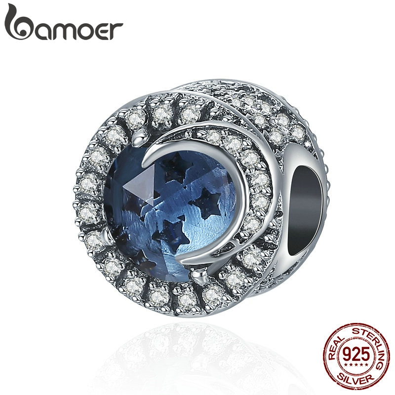 BAMOER 925 Sterling Silver Sparking Sky Star & Moon Big Stone Clear CZ Beads Fit Charm Bracelet Necklaces DIY Jewelry SCC383