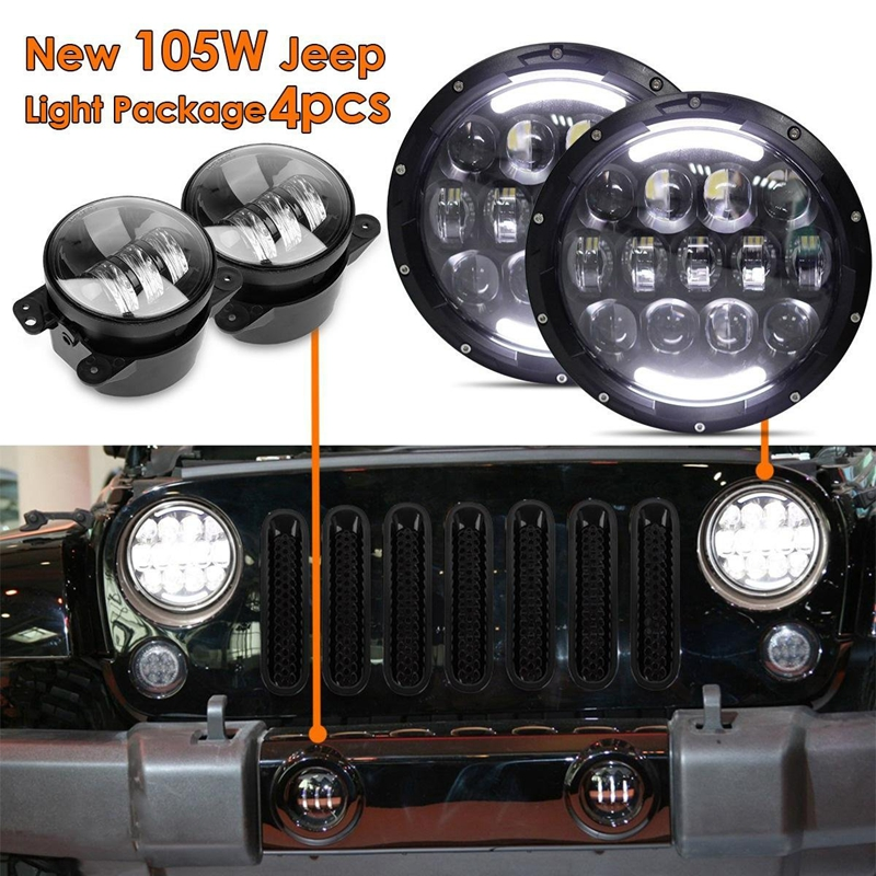 105W 7inch LED Headlamp Assembly with Hi/Lo Beam White DRL and Amber Turn Signal+2x 4inch Fog Light for JEEP Wrangler JK LJ CJ люстра накладная 06 2484 0333 24 gold amber and white crystal n light