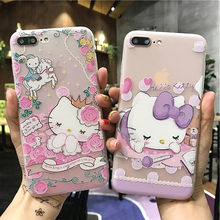 Olá Kitty Caso Modelado Para o iphone 7 8 6 S Plus 5S 3D Alívio de Silicone Macio Proteger Capa Para iPhone SE 6 Plus X Capa Fundas(China)