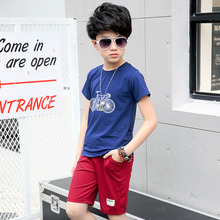2PCS Boys 2017 Summer Clothes Sets Cotton Bike T Shirt + Summer Shorts Children Clothing Sets Kids Fashion Suits 4-16 years цена 2017
