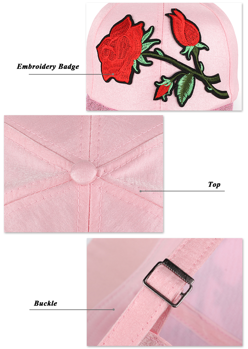Embroidered Rose Baseball Cap - Embroidery, Button Top and Buckle Detail Views