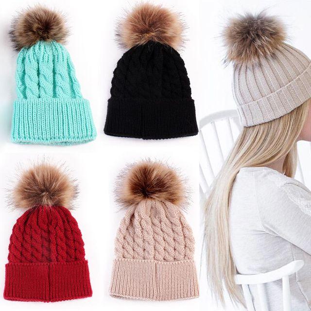 1 Pc Moda Doces Colorem A Mãe ou o Bebê De Tricô Manter Chapéu Morno Mulheres Inverno Chapéu Combinando Roupas Da Família Mãe Do Bebê chapéus