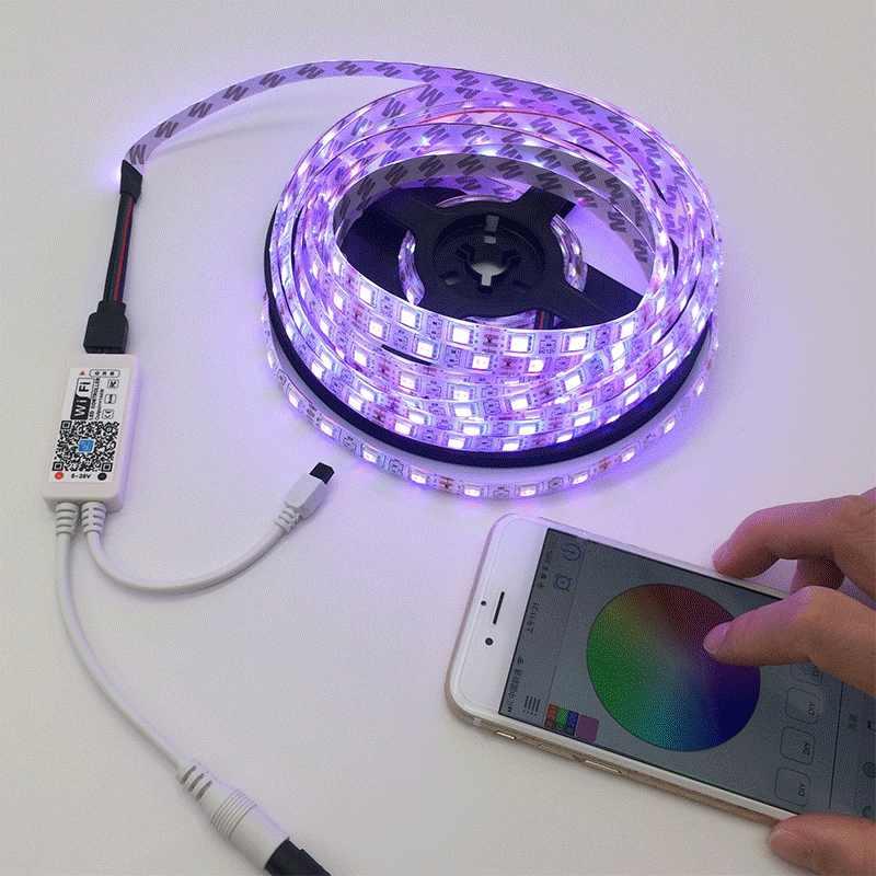5 м 5050 RGB Wi Fi светодиодные ленты свет водостойкий 10 15 лента-тесьма со светодиодами удаленного Wi-Fi беспроводной контроллер 12 В адаптеры питания комплект
