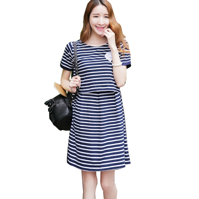 a102fa9608b00 Summer Maternity Stripe Nursing Dress Fashion Mothers Breastfeeding Dresses  Pregnant Women Maxi Clothing Breast Feeding Clothes
