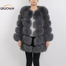 QC8078 BIG SALE FREE SHIPPING all real photos women winter real fox fur coat long sleeves fox fur jacket