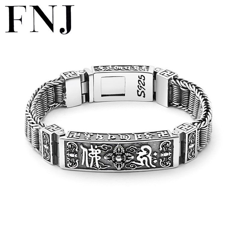 FNJ 925 Silver Bracelet 11mm width New Fashion Wire-cable Tank Chain Original S925 Thai Silver Bracelets for Women Men Jewelry 925 silver bracelet men friendship bracelets 20cm mens jewellery 11mm