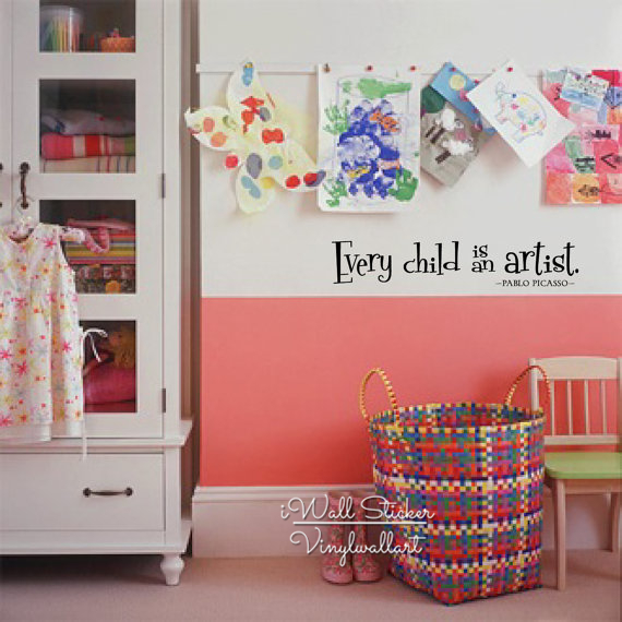 every child is an artist wall decal children room quotes wall sticker kids room diy vinyl