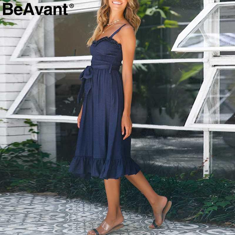 BeAvant элегантное Плиссированное женское хлопчатобумажное платье с рюшами; с высокой талией летнее платье Розовый Спагетти ремень женское платье-миди платье vestidos