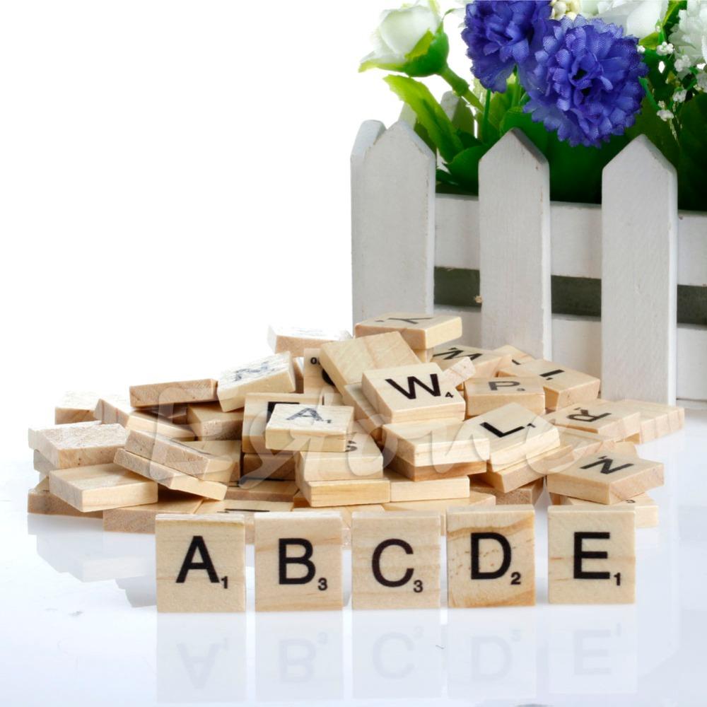 100 unids Alfabeto De Madera Scrabble Azulejos Negro Letras y Números Para La Artesanía De Madera