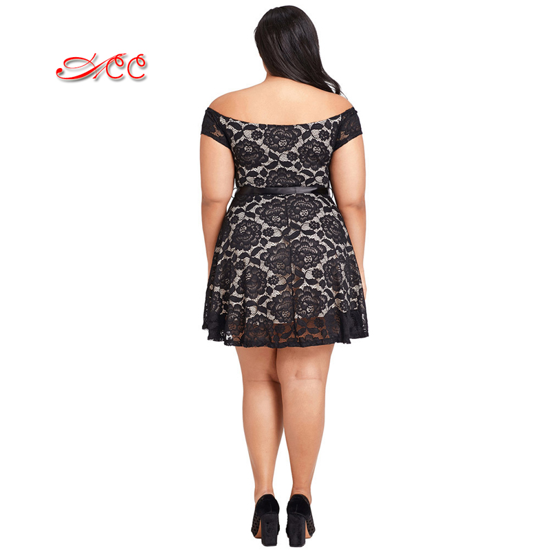 ACC Plus size Sexy Lace Bra Topline Obese Woman XL Plain Strapless Dress OL Commuter Deep V Collar Slim Temperament Party Dress