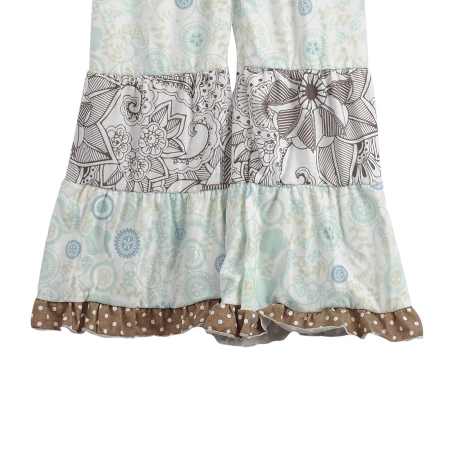 Fashion Style Flower Tunic Polka Dots Ruffle Toddler Girls Remake Dresses Print Legging Kids Boutique Clothing Sets F134