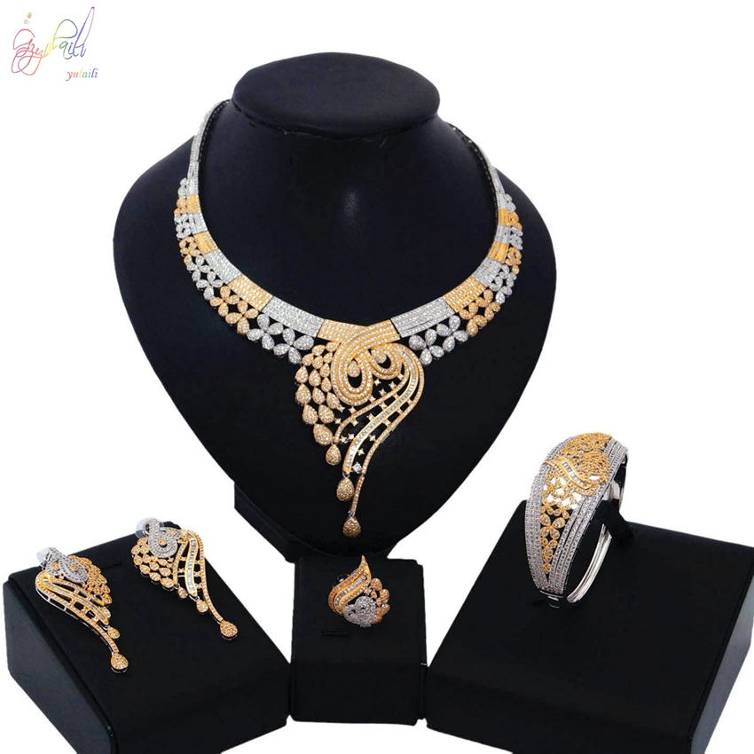 YULAILI Top Quality Flower Design Cubic Zirconia Jewelry Set Dazzling Two Tone Color Jewelry for Wedding Engagement