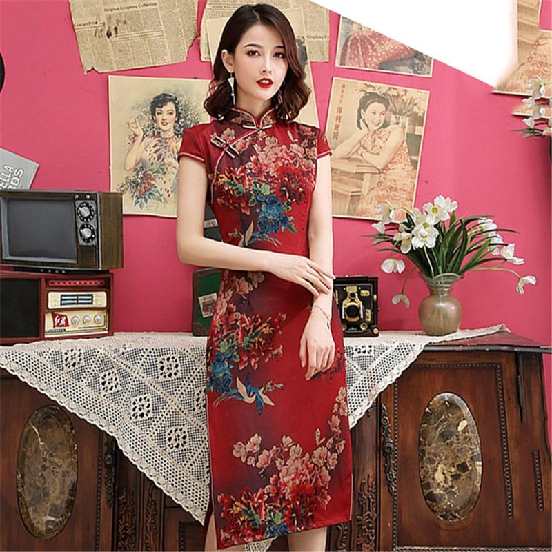 Burgundy Chinese Traditional Women Dress Sexy Print Flower Satin Qipao Elegant Short Sleeve Rayon Cheongsam Novelty Vestidos