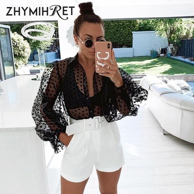 ZHYMIHRET Casual Polka Dot Mesh Blouse Shirt Women 2021 Long Lantern Sleeve Tops And Blouses See Through Blusas Mujer De Moda 3