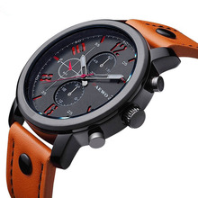 Big COOL Fashion Brand Luxury Military Watches Men Leather S