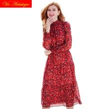 ФОТО 2018 summer chiffon dress women's party pencil work red floral dresses printed large plus size maxi long beach boho bohemian