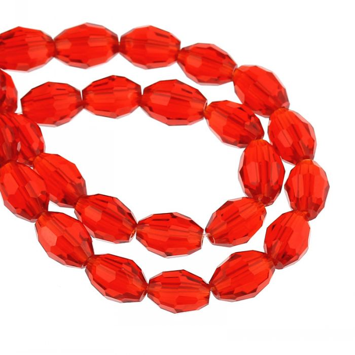 """DoreenBeads Crystal Glass Loose Beads Oval Red Faceted DIY Pick 8mm <font><b>x</b></font> 6mm(<font><b>3</b></font>/<font><b>8</b></font>"""" <font><b>x</b></font> 2/<font><b>8</b></font>""""),55.5cm(<font><b>21</b></font> 7/<font><b>8</b></font>""""),1 Strand(approx 72PCs)"""