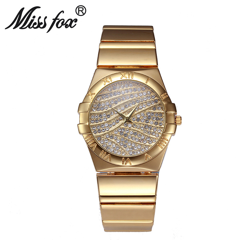 Miss Fox Brand Fashion Roman Numerals Gold Watches Women Famous Brand Diamond Watch Face For Women Clock Rhinestone Quartz Watch 2018 new mce brand quartz watches for women fashion roman numerals simple watch casual stainless steel leather strap clock 002
