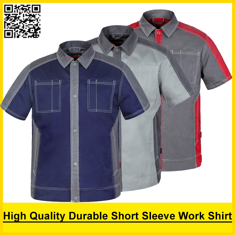 Bauskydd High Quality Men S Polycotton Workwear Shirt Dark Blue Work