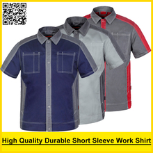 Bauskydd High quality Men's polycotton workwear shirt dark blue work shirt engineer uniform jacket polo shirt