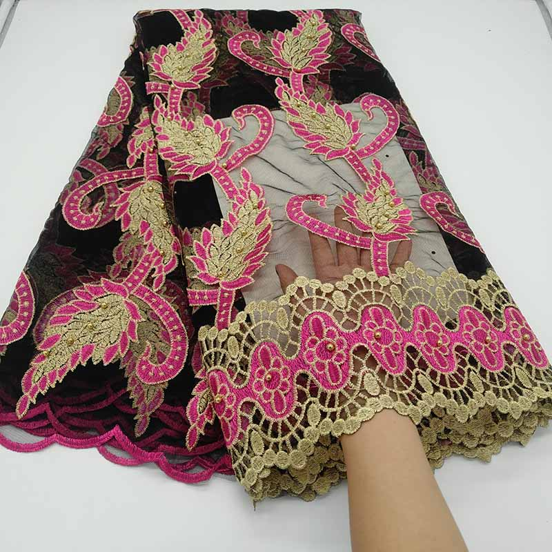 Black Pink French Tulle Lace Fabric 2019 High Quality Embroidery African Lace Fabric With Beads Nigerian