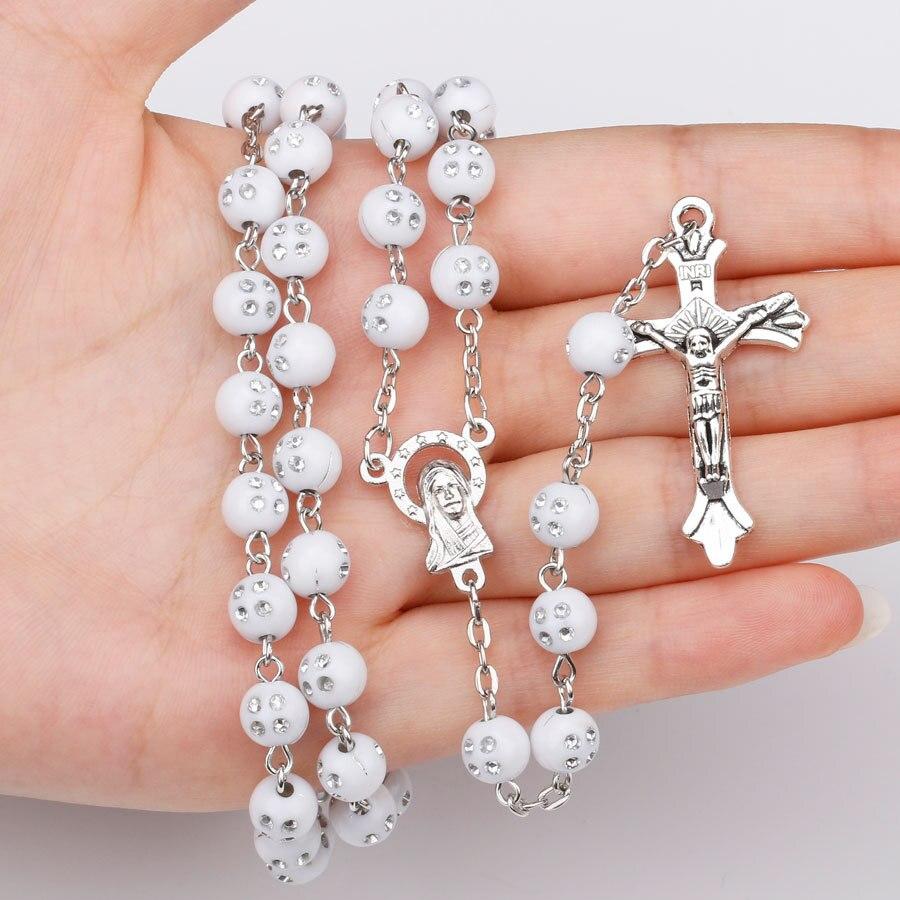 New Arrival Catholic Rosary Necklace Wood White Beads Jesus Cross Pendant Necklace Prayer Beaded Religious Necklaces