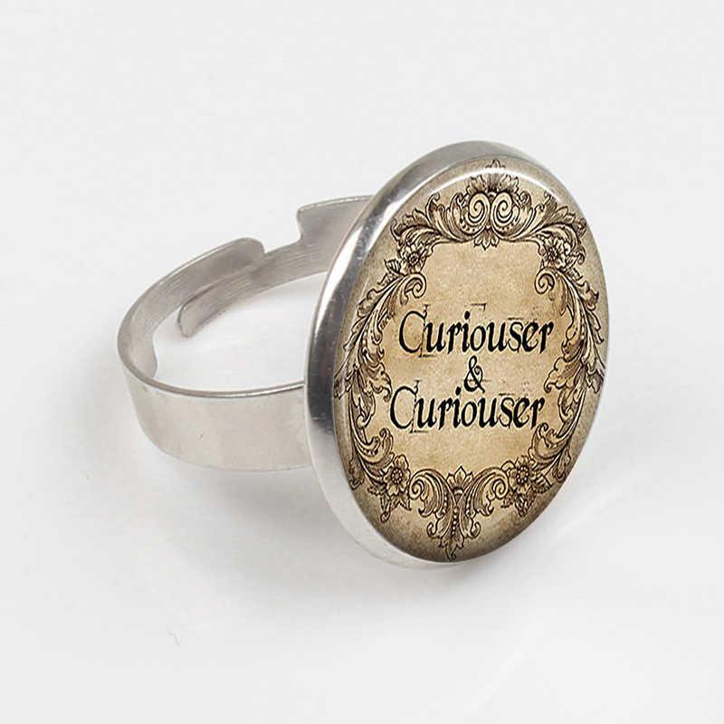 ZBOZWEI 2018 değilim çılgın Cheshire yüzük alıntı Alice In Wonderland el yapımı yüzük cam Cabochon takı aksesuarları