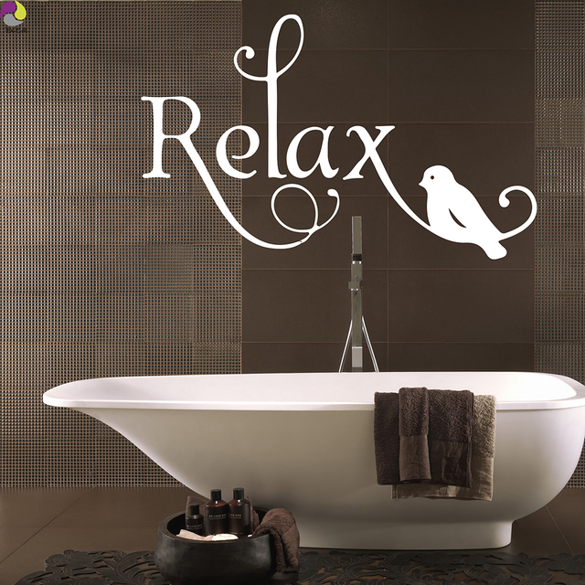 cartoon relax quote wall sticker bathroom bedroom large relax birds pattern wall decal baby nursery office