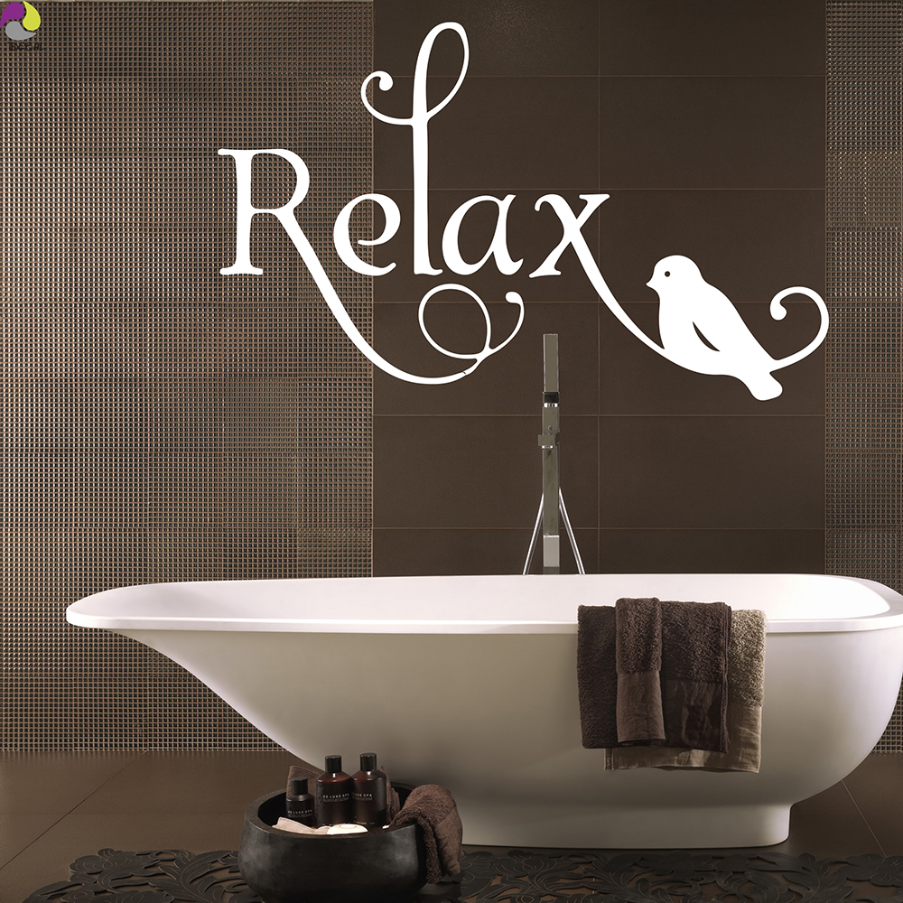 Cartoon Relax Quote Wall Sticker Bathroom Bedroom Large Relax Birds Pattern Wall Decal Baby Nursery Office Vinyl Home Decor Art