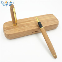 Best Bamboo Fountain Pen Set Bamboo Signature Pen Bamboo Stationery Roller Ball Pen Pencil Case Custom