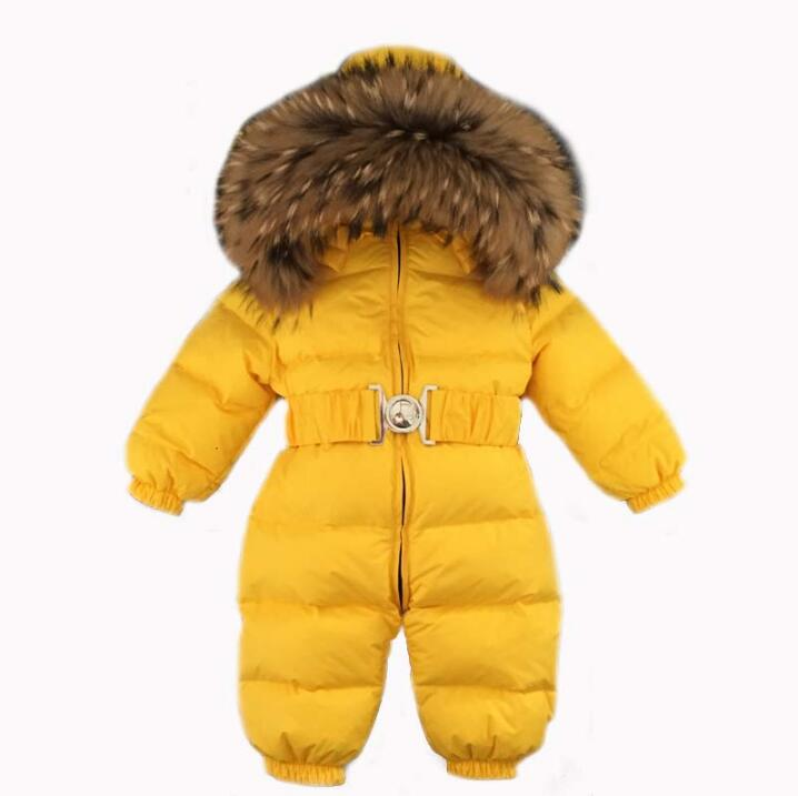 Russia Winter Baby Snowsuits bebes Jumpsuit hold -25 18M-4T Boy Girls Warm natural fur Down Jacket Kids Clothes Infantil Rompers